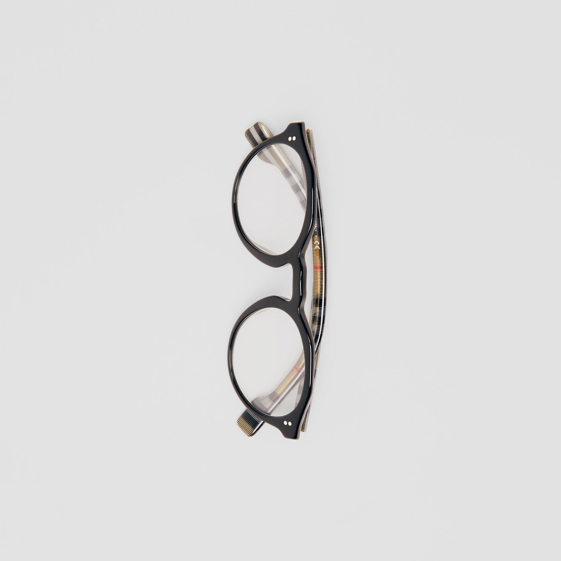 Vintage Check Detail Keyhole Round Optical Frames in Black - Men | Burberry Canada - gallery image 3