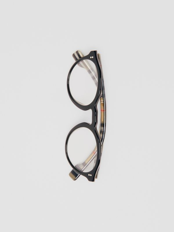 Vintage Check Detail Keyhole Round Optical Frames in Black - Men | Burberry Canada - cell image 3