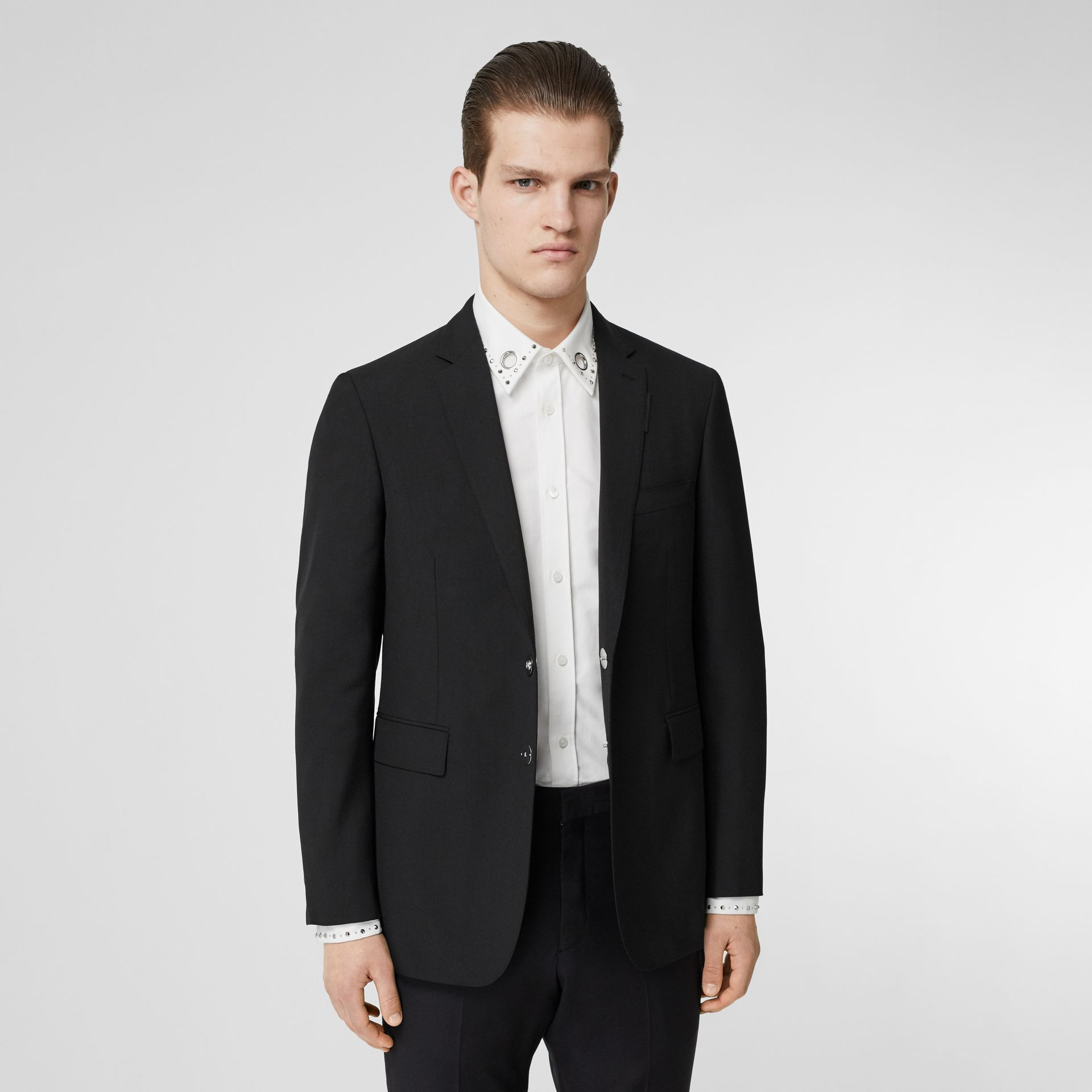 Slim Fit Press-stud Tumbled Wool Tailored Jacket in Black - Men | Burberry - gallery image 5