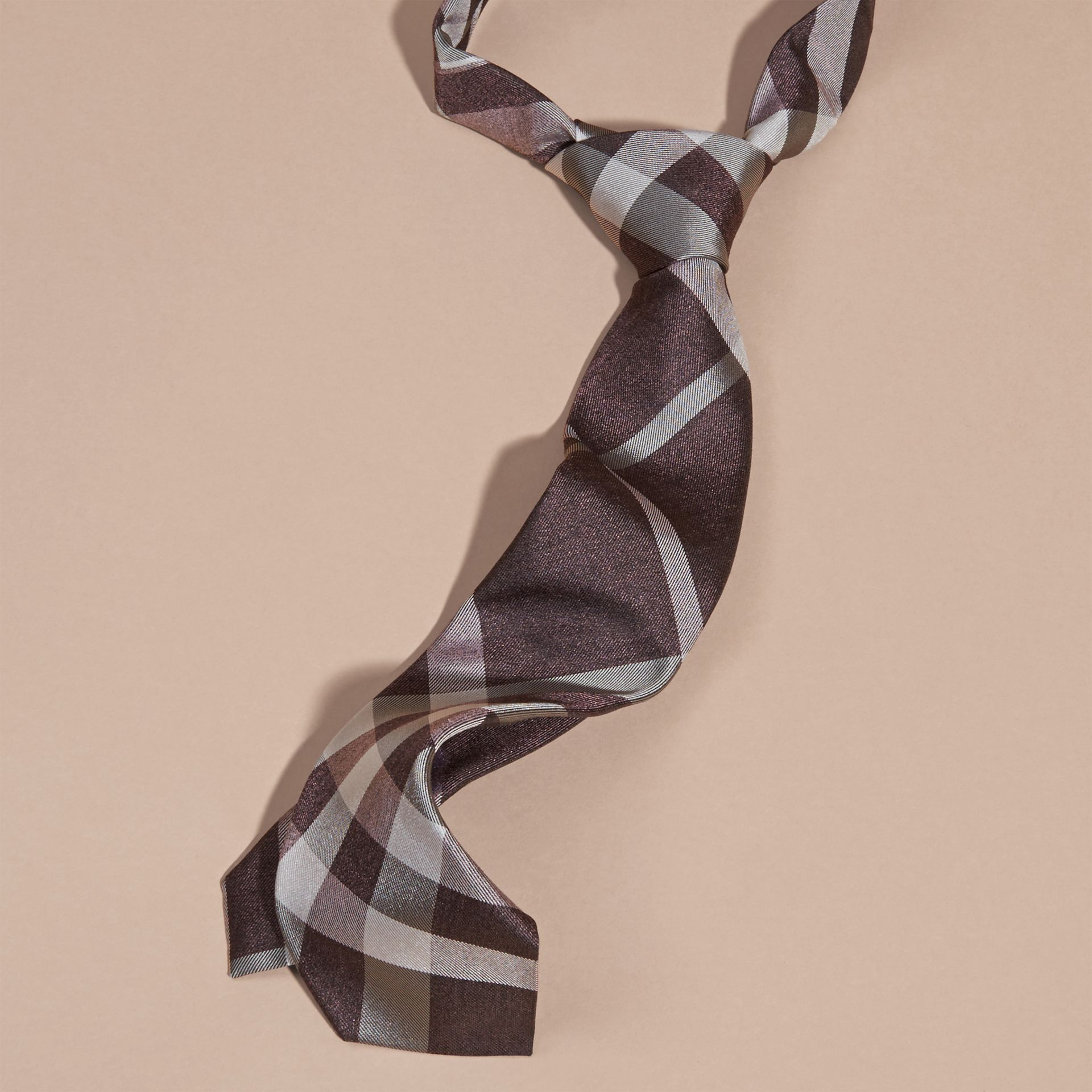 Heather Modern Cut Check Jacquard Silk Tie Heather - gallery image 3