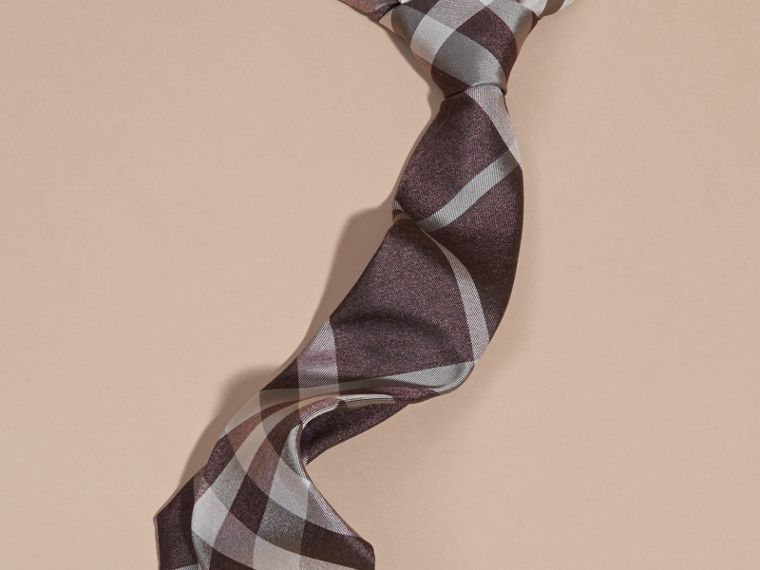 Heather Modern Cut Check Jacquard Silk Tie Heather - cell image 2