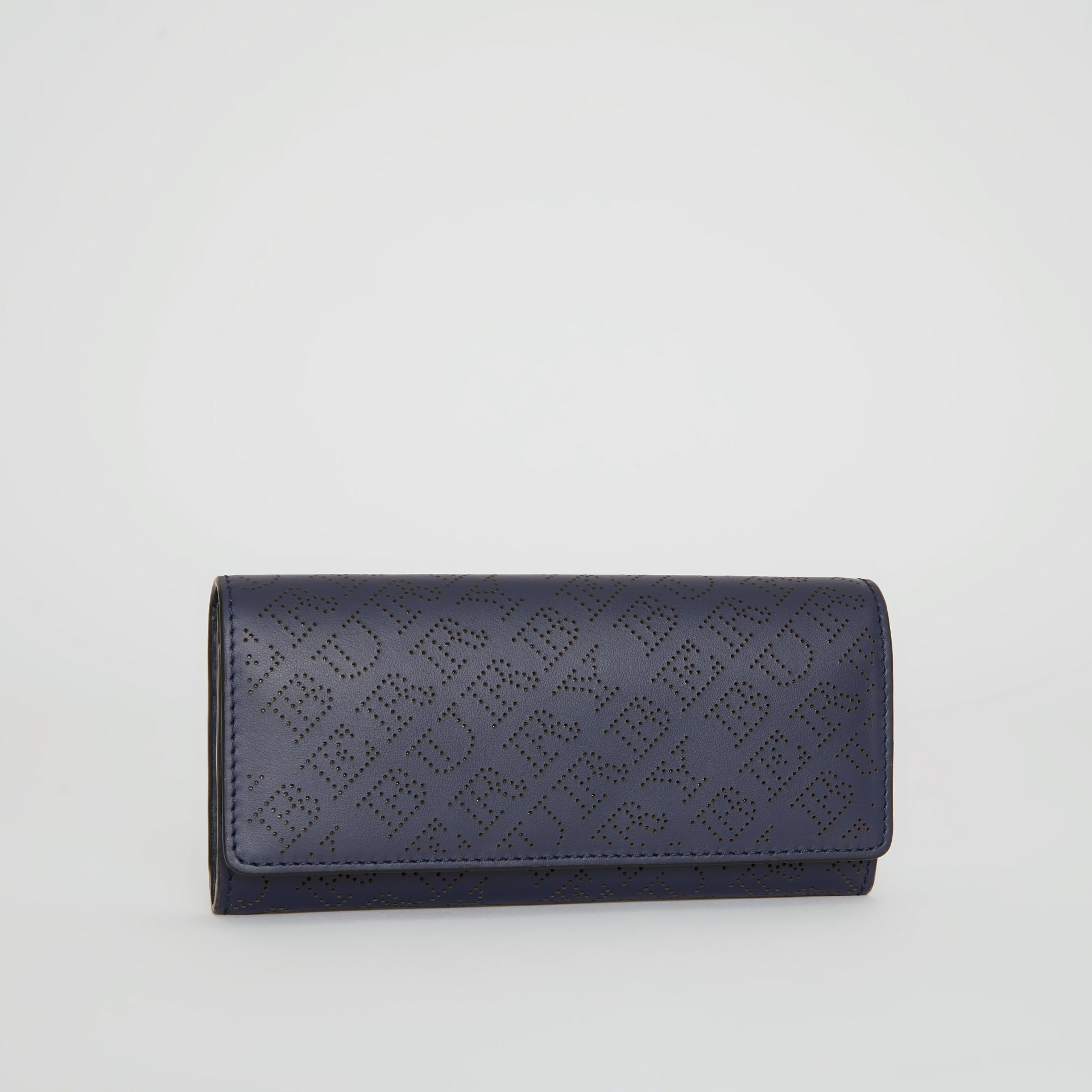 Perforated Logo Leather Continental Wallet in Navy - Women | Burberry - gallery image 4
