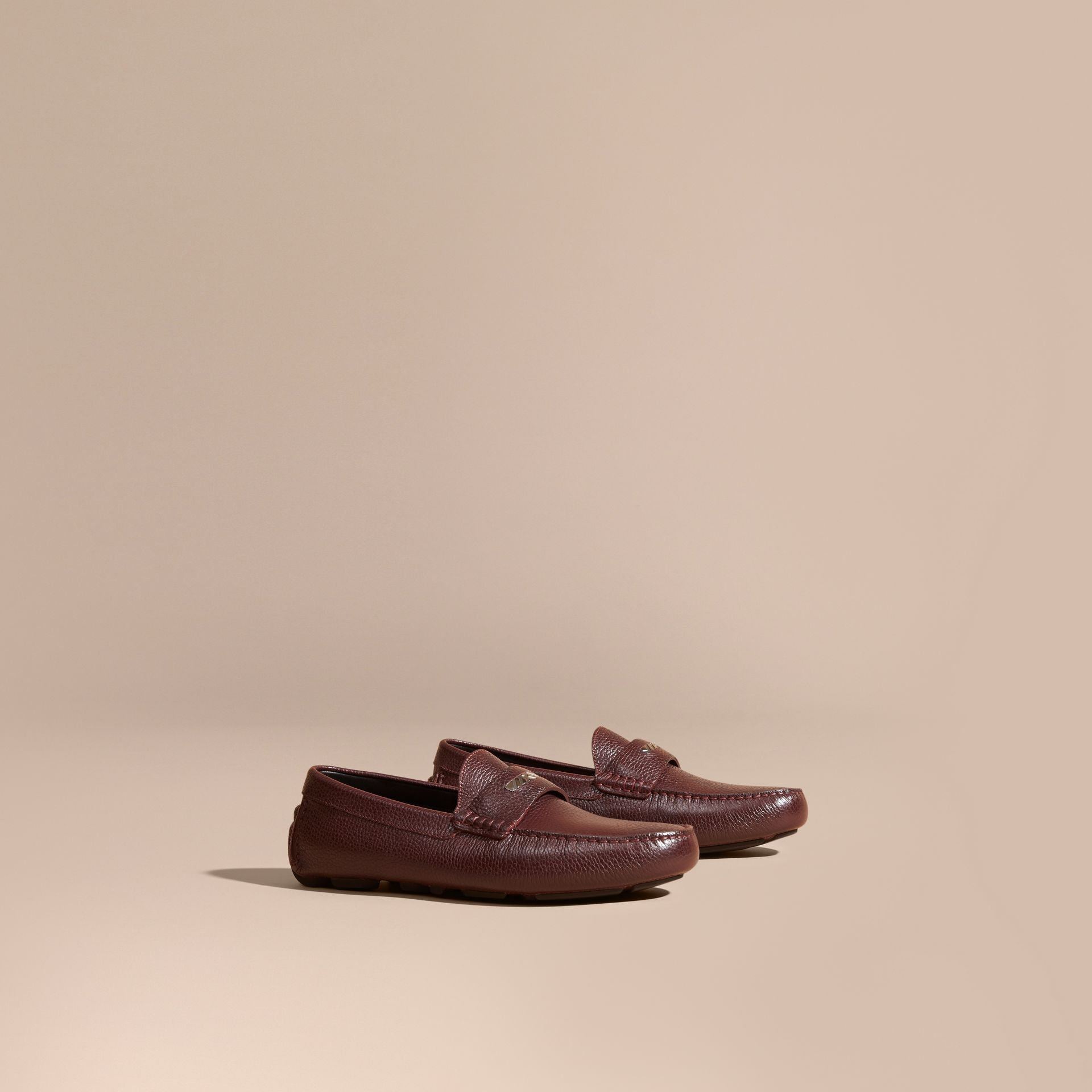 Bordeaux Grainy Leather Loafers with Engraved Check Detail Bordeaux - gallery image 1