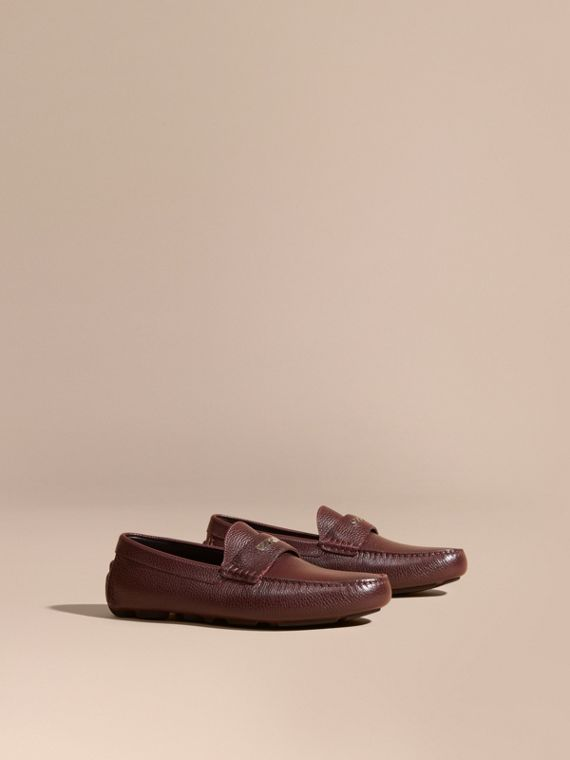 Grainy Leather Loafers with Engraved Check Detail Bordeaux