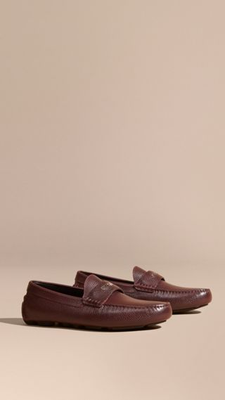 Grainy Leather Loafers with Engraved Check Detail