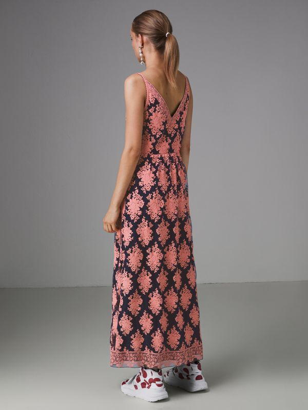Floral-embroidered Sleeveless Dress in Rose/midnight Blue - Women | Burberry Hong Kong - cell image 2