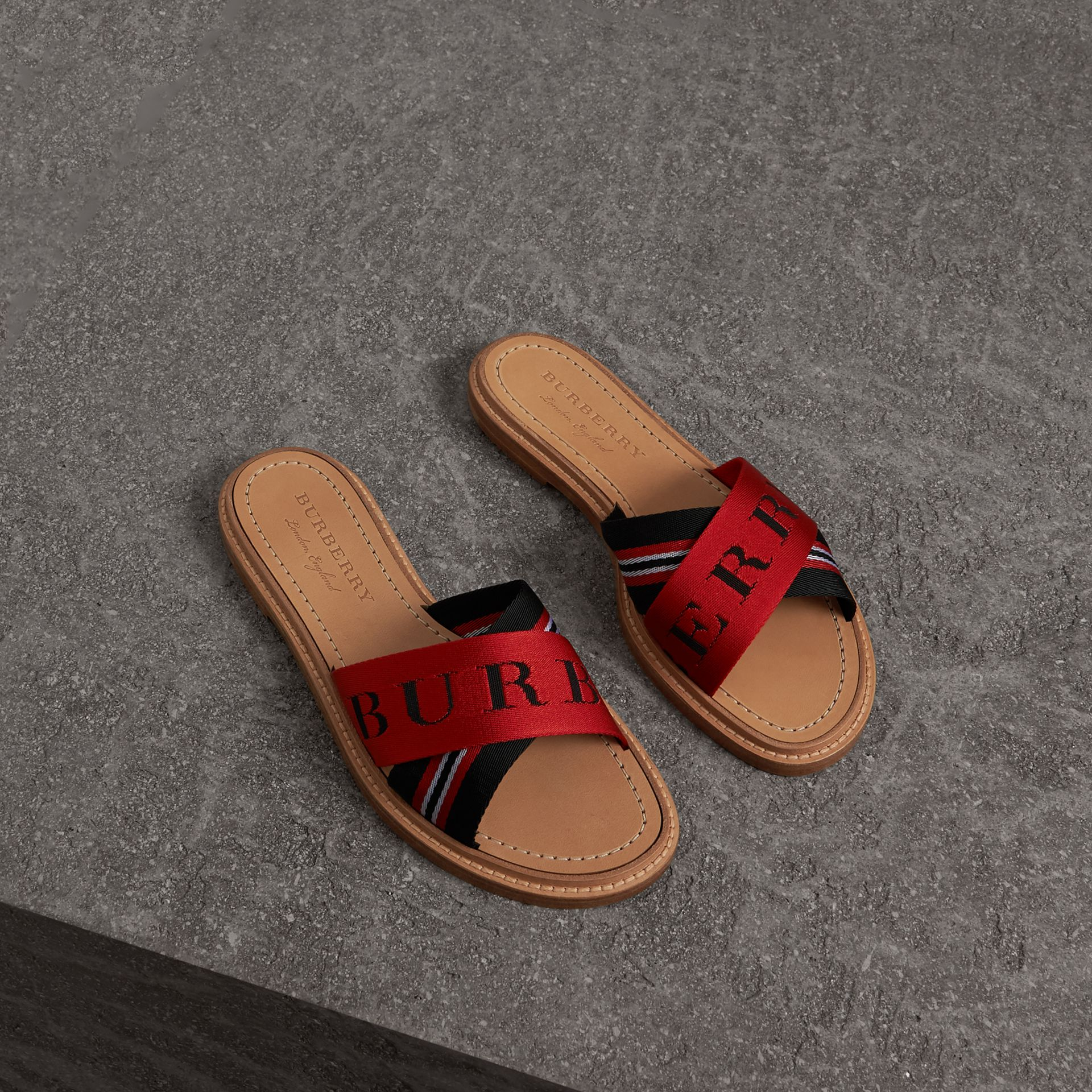 Striped Nylon and Leather Slides in Black/red/white - Women | Burberry - gallery image 0