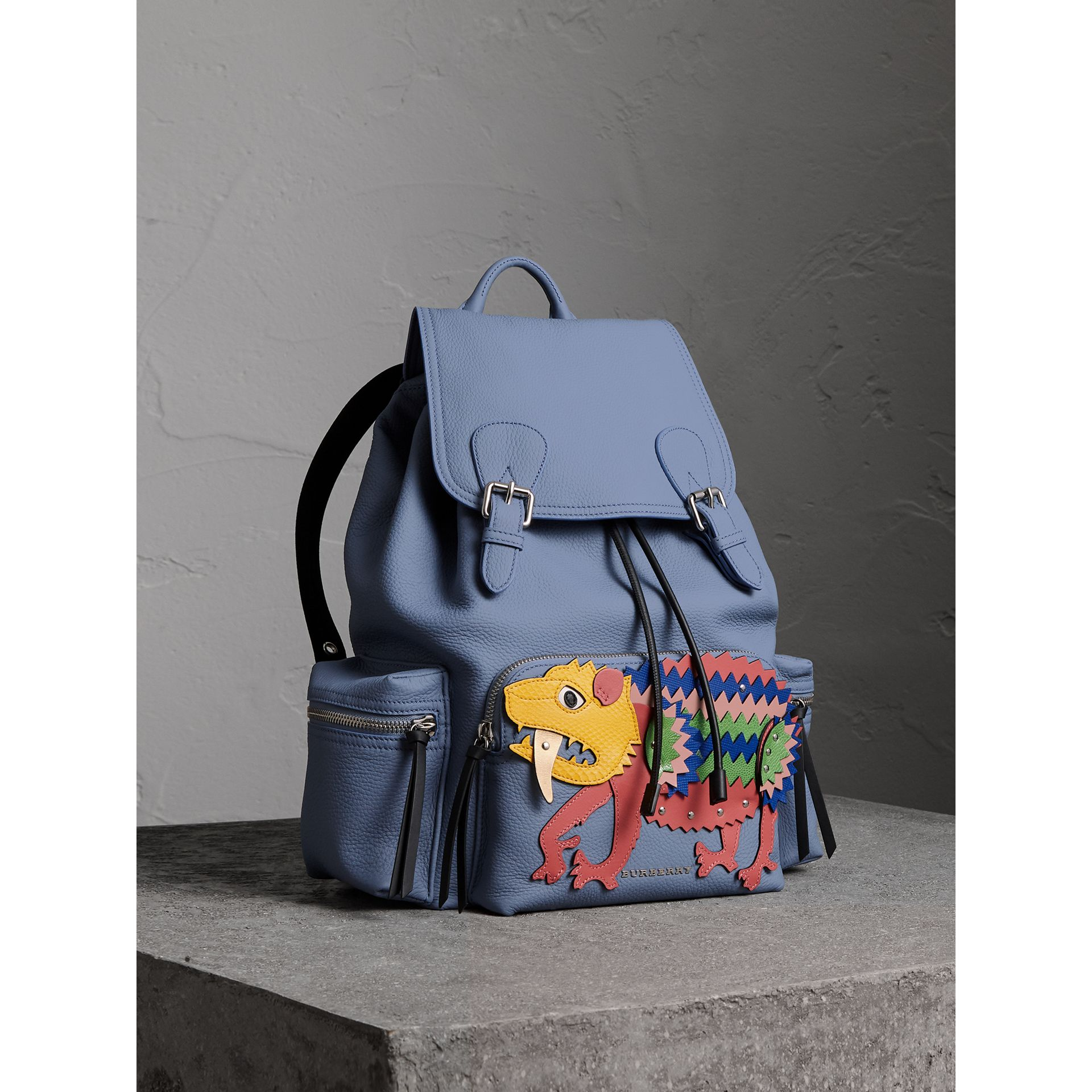 The Large Rucksack in Deerskin with Beasts Motif in Slate Blue - Women | Burberry - gallery image 7