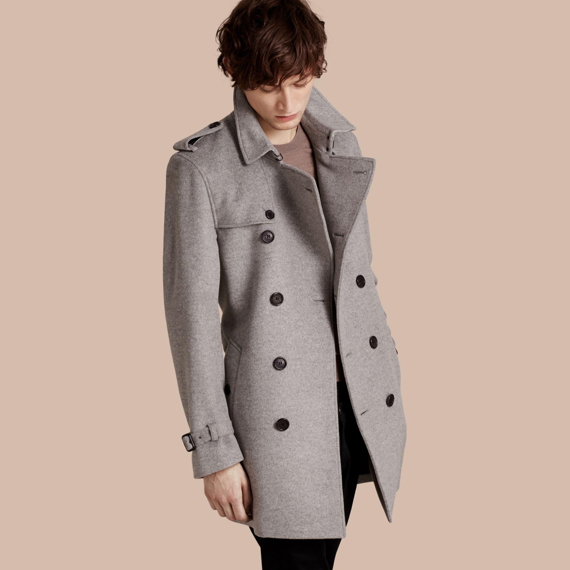 Pale grey melange Wool Cashmere Trench Coat Pale Grey Melange - gallery image 1