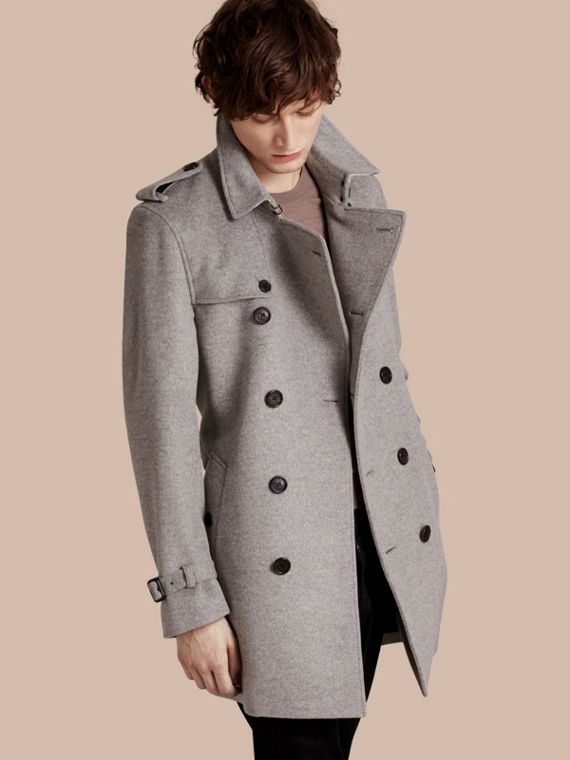 Wool Cashmere Trench Coat Pale Grey Melange