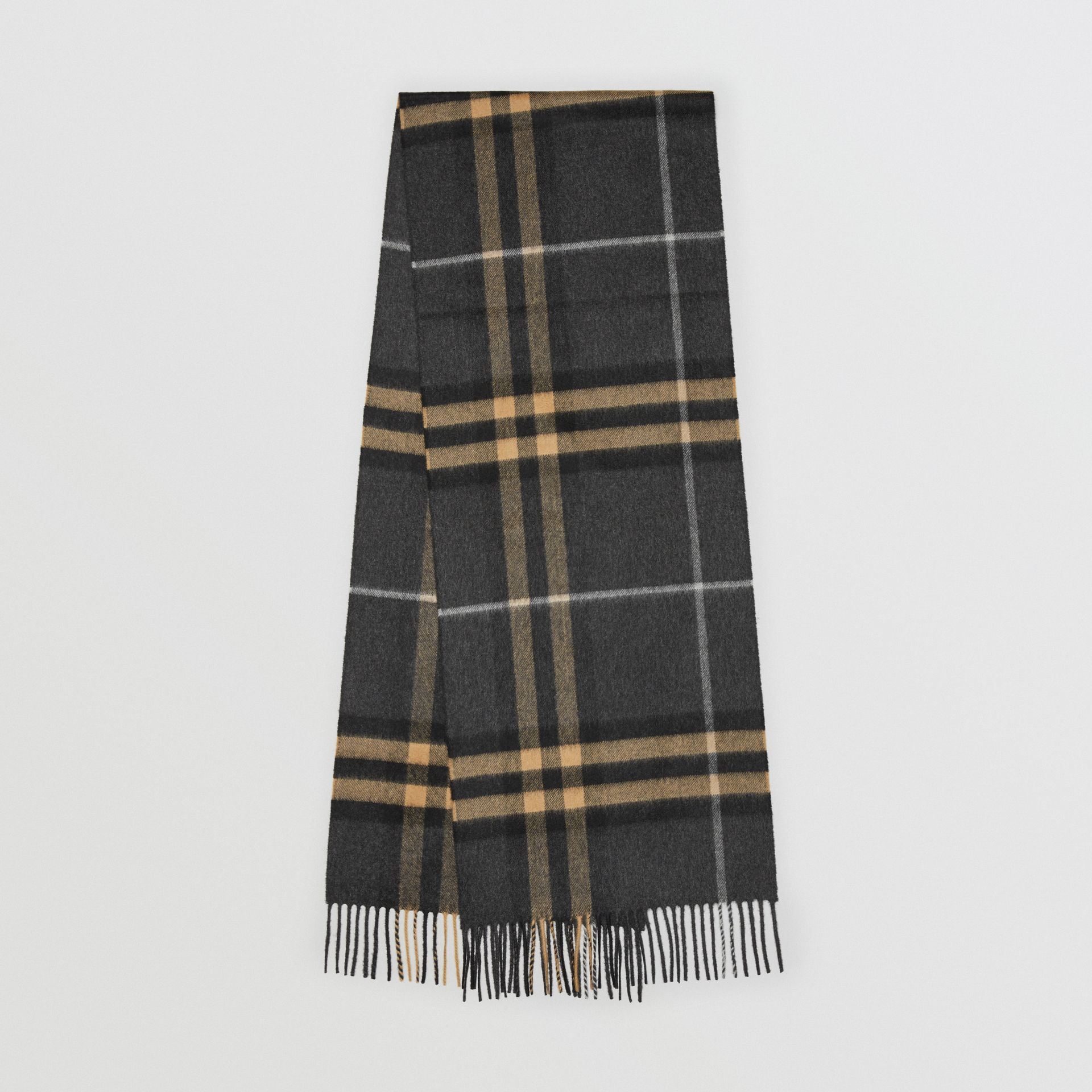 The Classic Cashmere Scarf in Check in Dark Pewter Grey | Burberry United Kingdom - gallery image 0