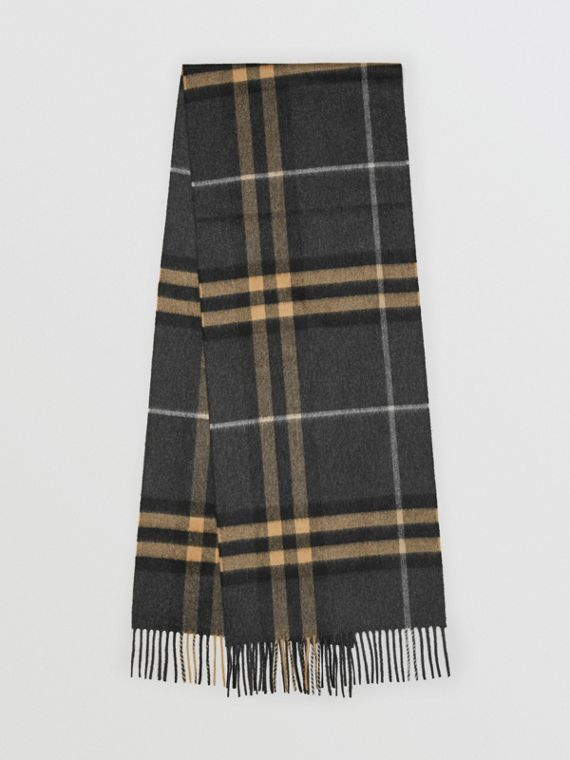 The Classic Cashmere Scarf in Check in Dark Pewter Grey