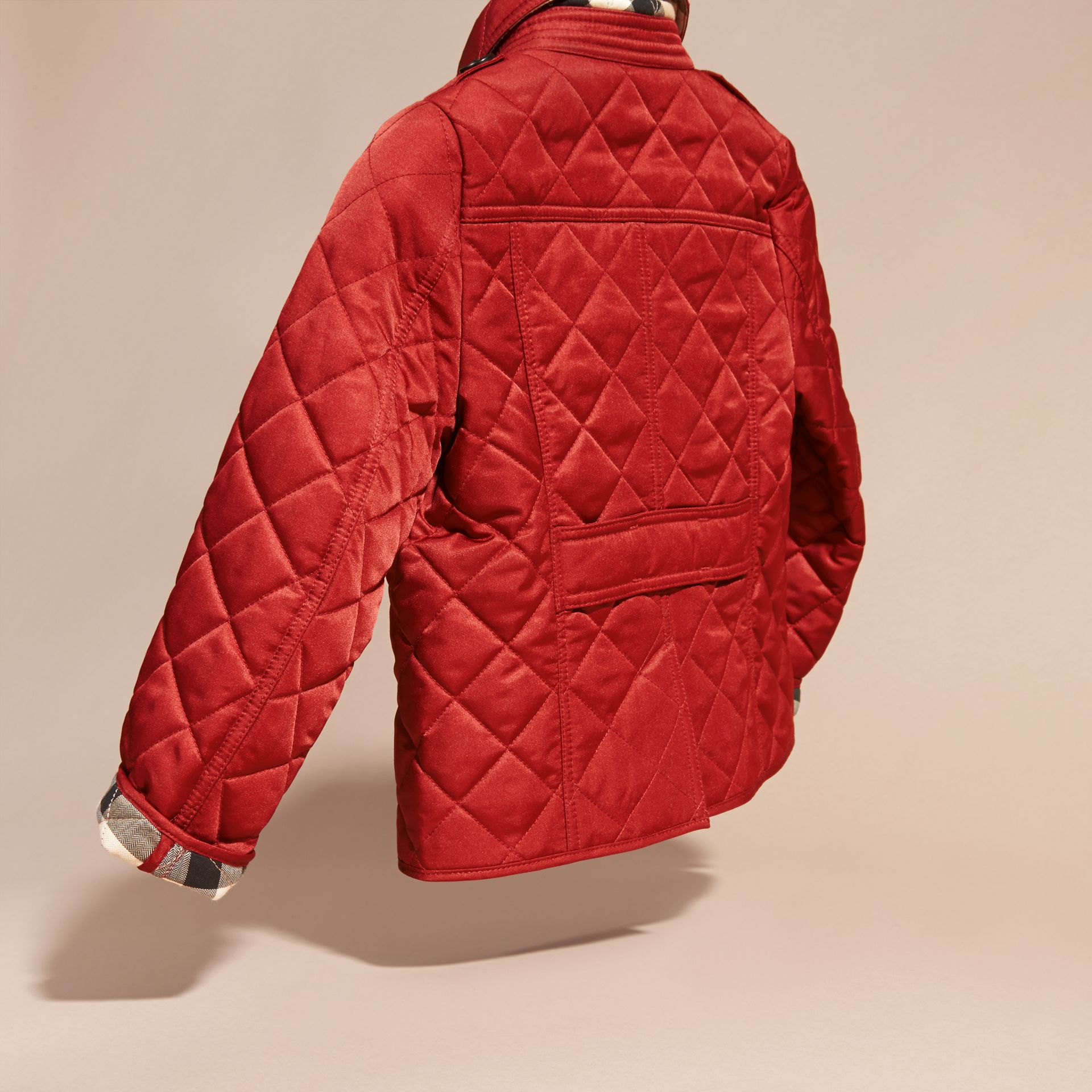 Check Lined Diamond Quilted Jacket in Parade Red - gallery image 4