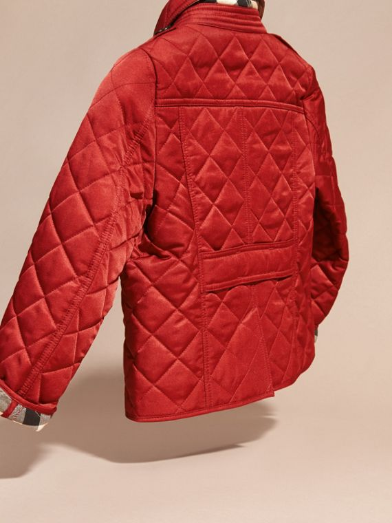 Check Lined Diamond Quilted Jacket in Parade Red - Girl | Burberry - cell image 3