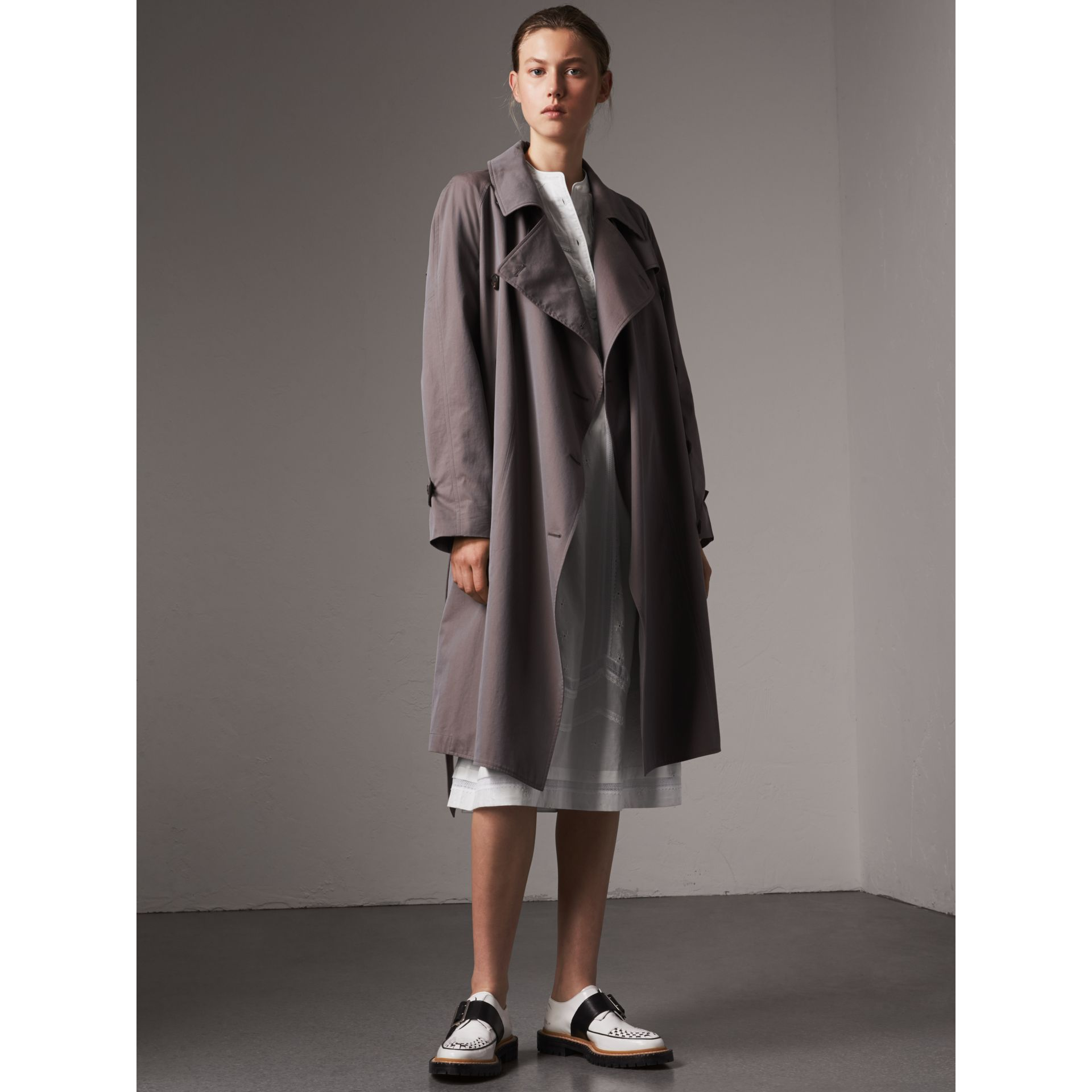Tropical Gabardine Asymmetric Trench Coat in Lilac Grey - Women | Burberry Singapore - gallery image 0