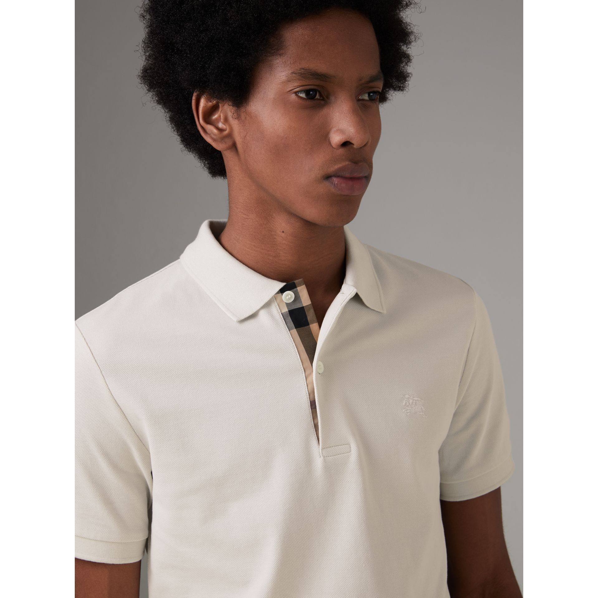 Check Placket Cotton Piqué Polo Shirt in Light Stone - Men | Burberry - gallery image 1