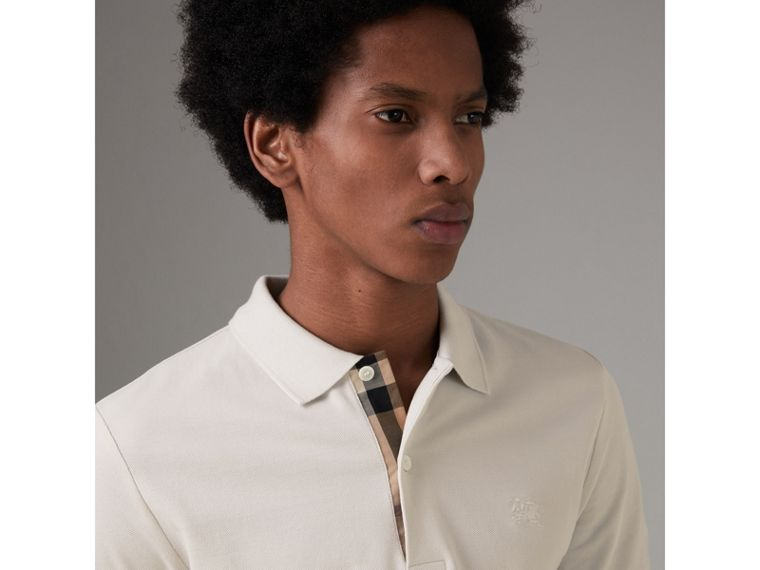Check Placket Cotton Piqué Polo Shirt in Light Stone - Men | Burberry - cell image 1