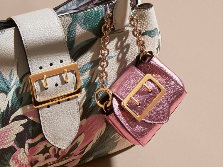 The Mini Buckle Tote Charm in Metallic Leather in Pale Orchid - cell image 1