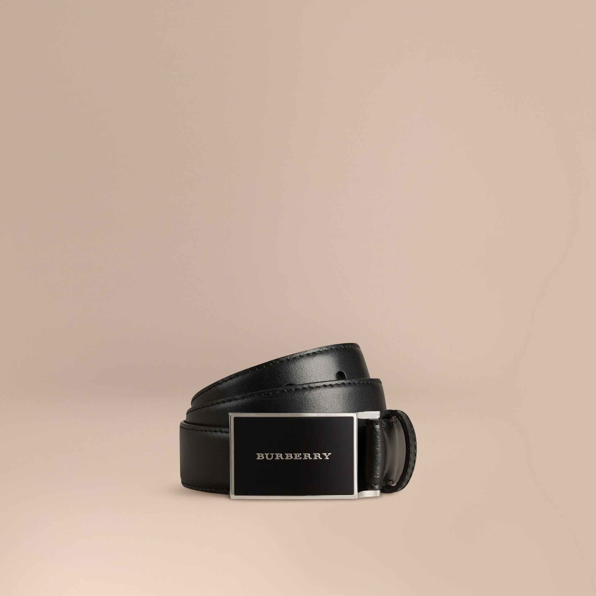 Black Plaque Buckle Leather Belt - gallery image 1