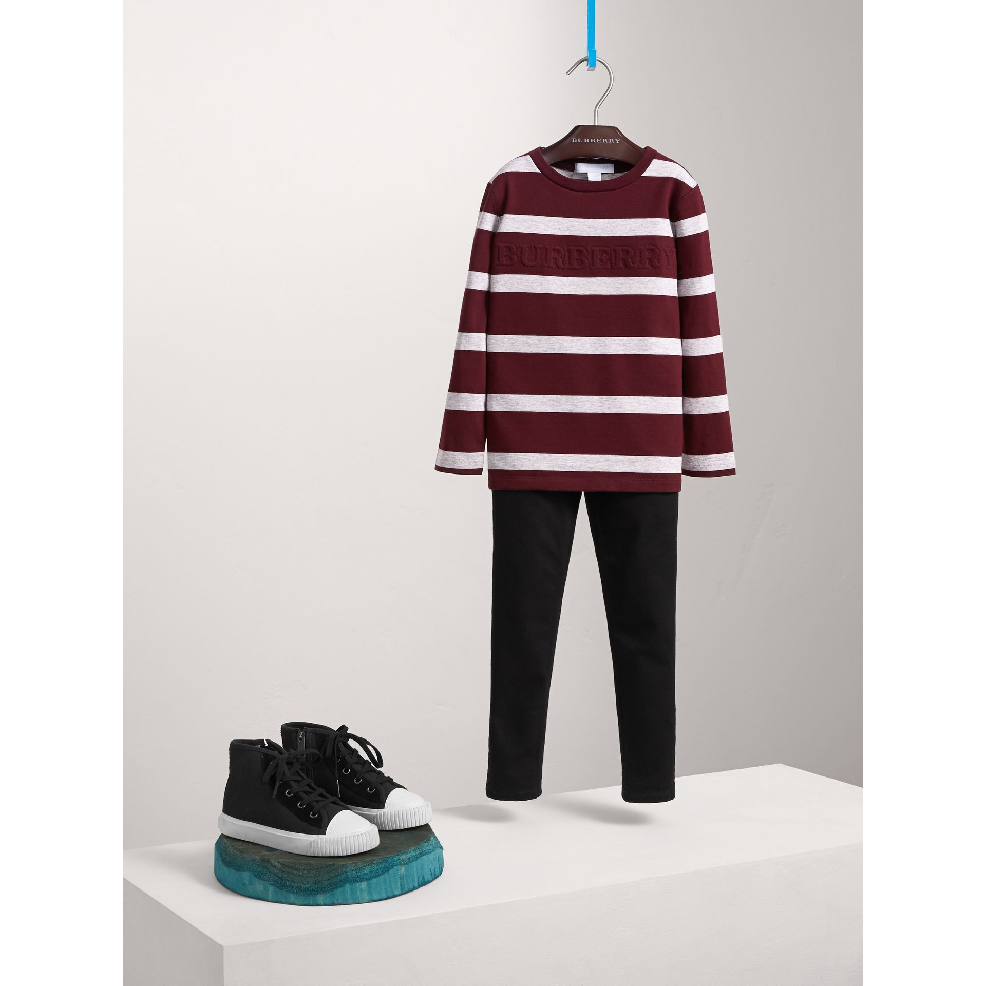 Long-sleeve Striped Cotton T-shirt in Burgundy/grey Melange - Boy | Burberry - gallery image 1