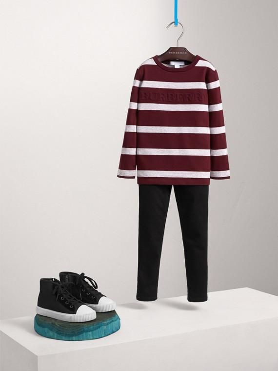 Camiseta de manga larga en algodón a rayas (Borgoña / Mezcla  Gris)