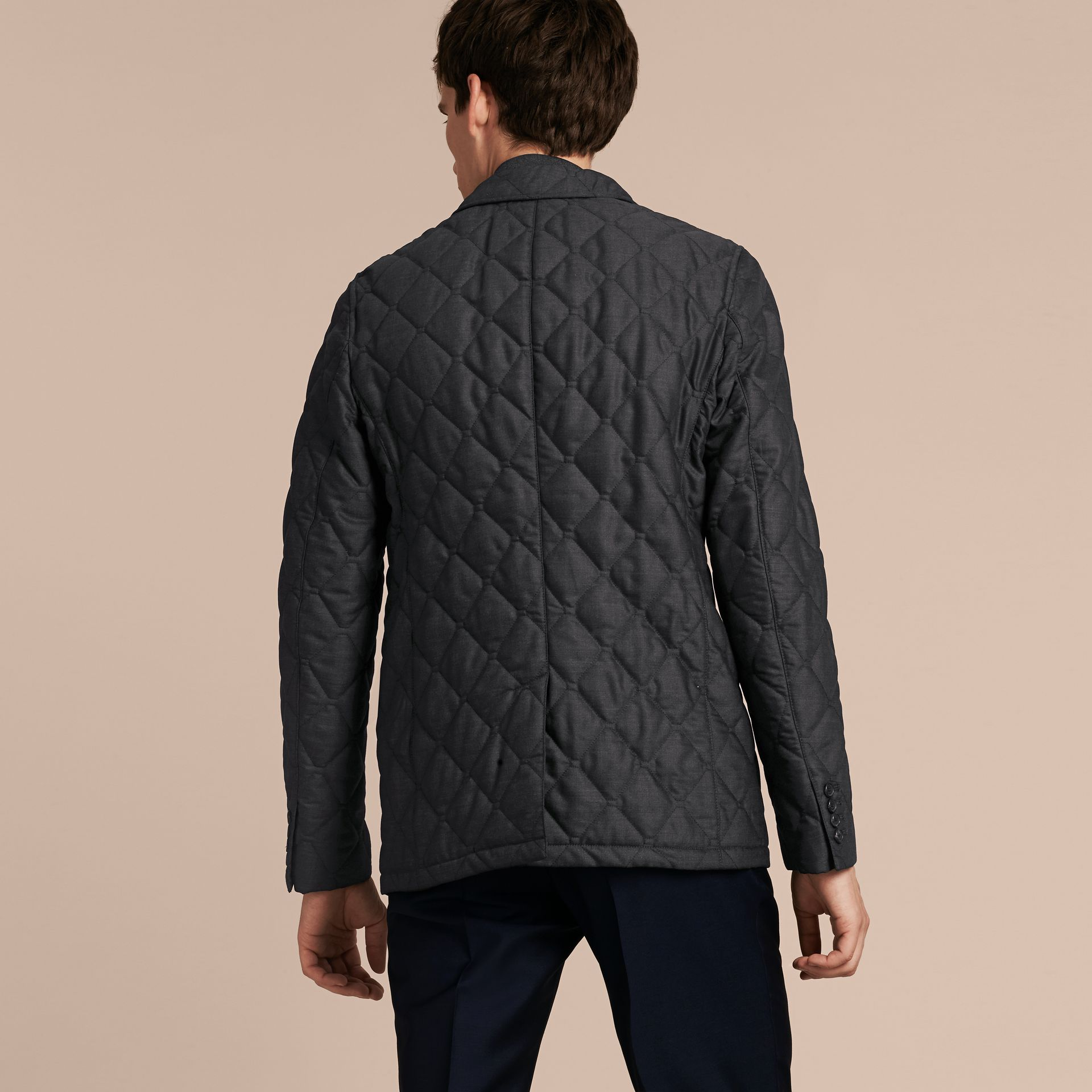 Charcoal Quilted Wool Jacket with Detachable Warmer - gallery image 3