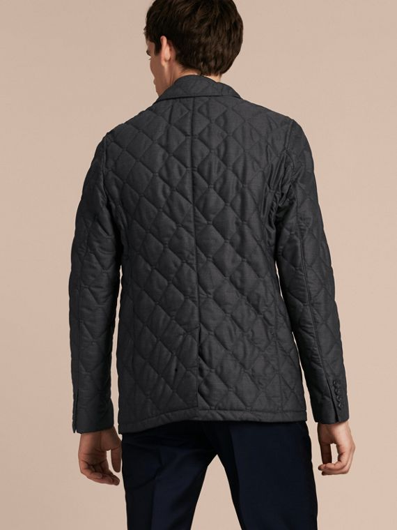 Charcoal Quilted Wool Jacket with Detachable Warmer - cell image 2