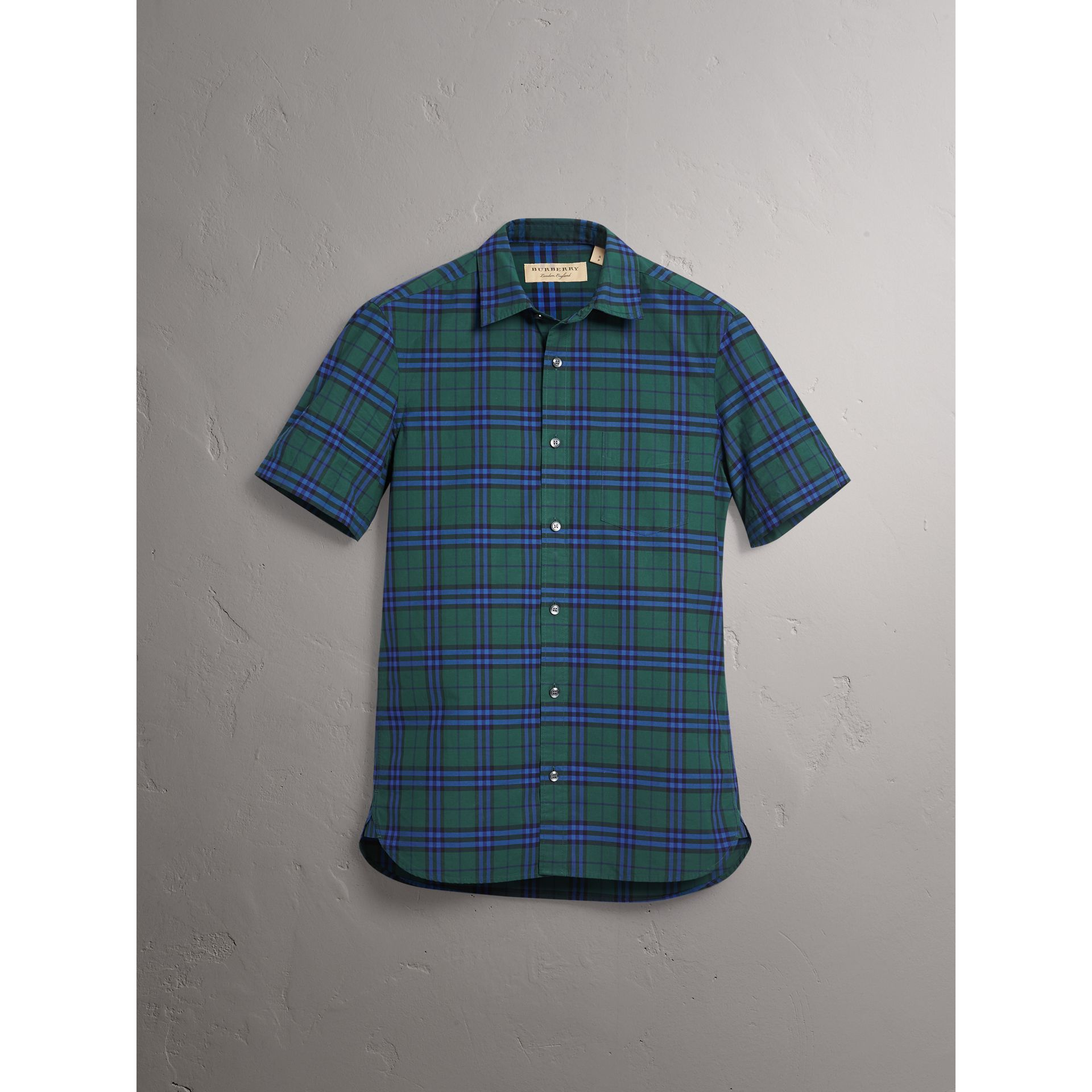 Short-sleeve Check Cotton Shirt in Forest Green - Men | Burberry Singapore - gallery image 3