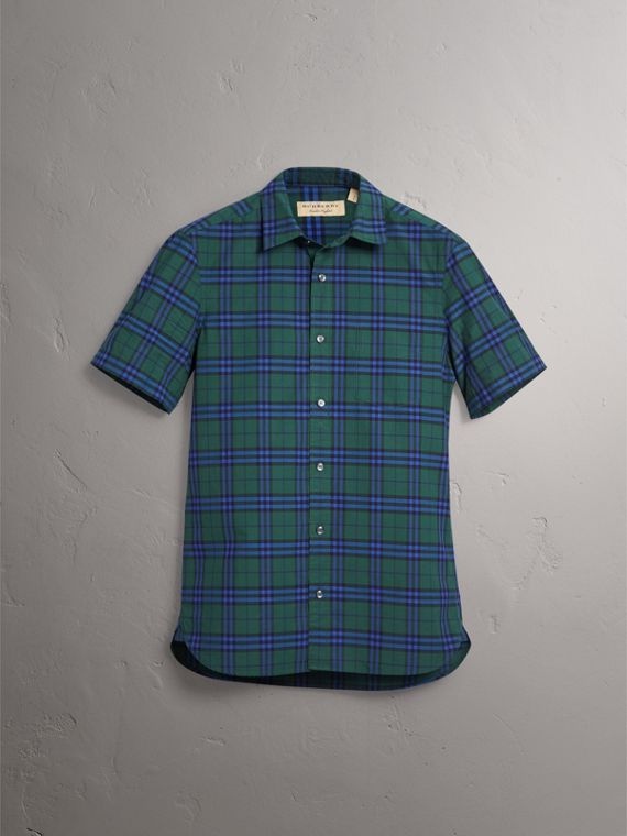 Short-sleeve Check Cotton Shirt in Forest Green - Men | Burberry United Kingdom - cell image 3