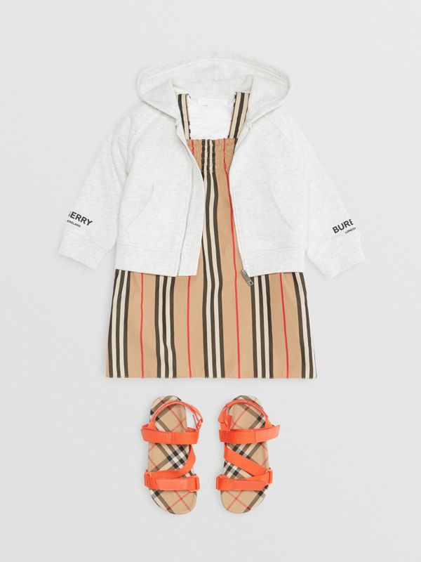 Logo Print Cotton Hooded Top in White Melange - Children | Burberry - cell image 2