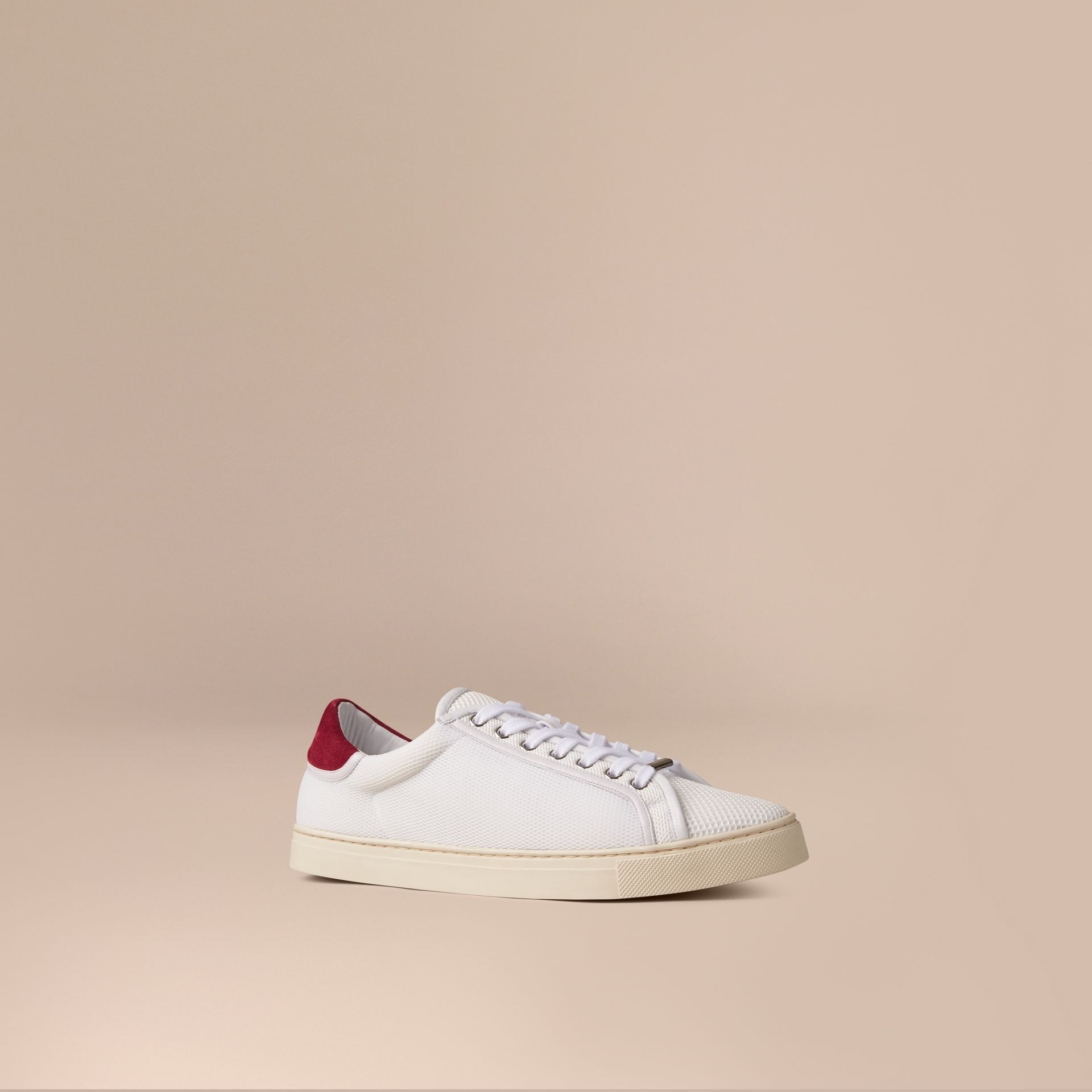 White/bright ruby red Mesh and Leather Trainers White/bright Ruby Red - gallery image 1