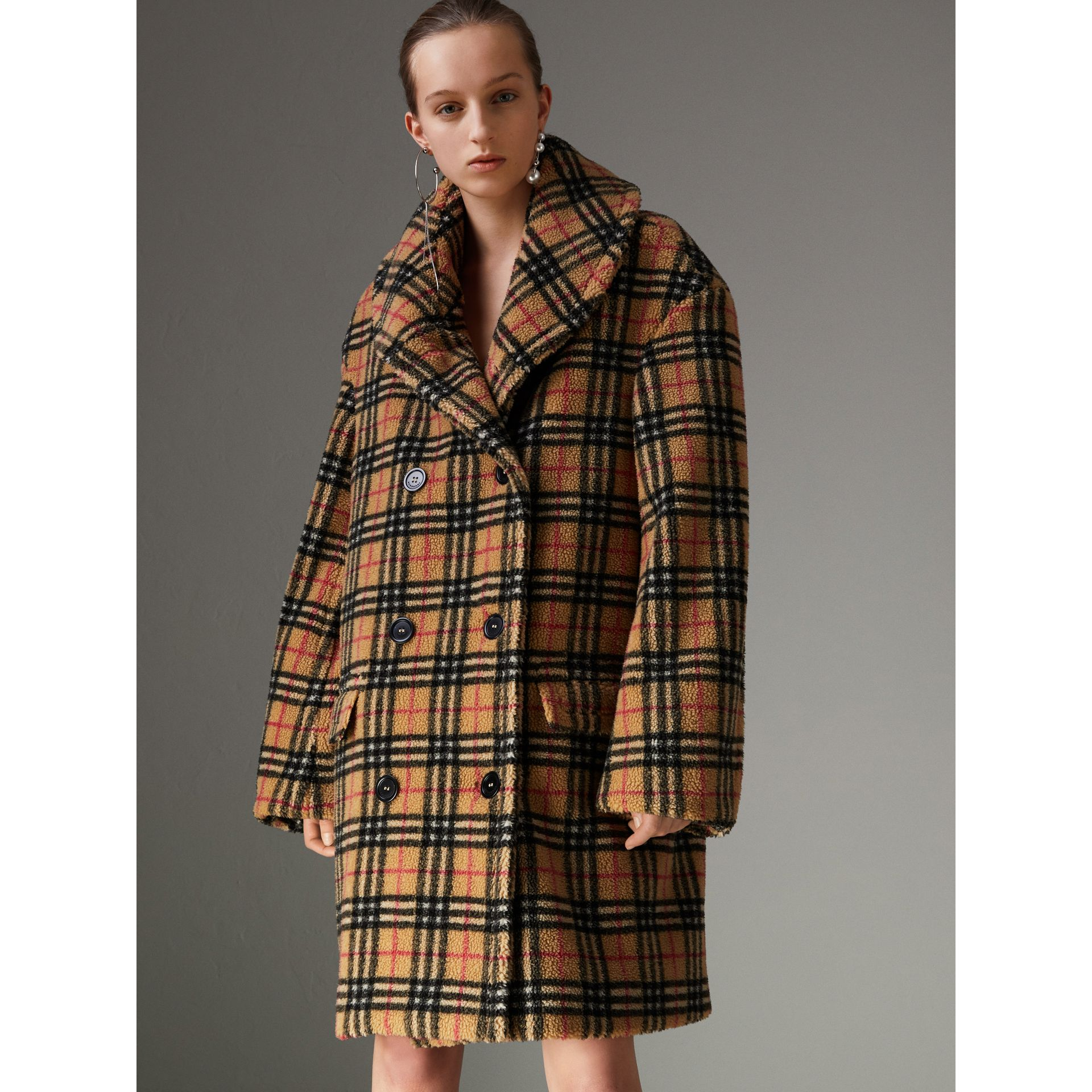 Vintage Check Faux Shearling Coat in Antique Yellow - Women | Burberry - gallery image 4