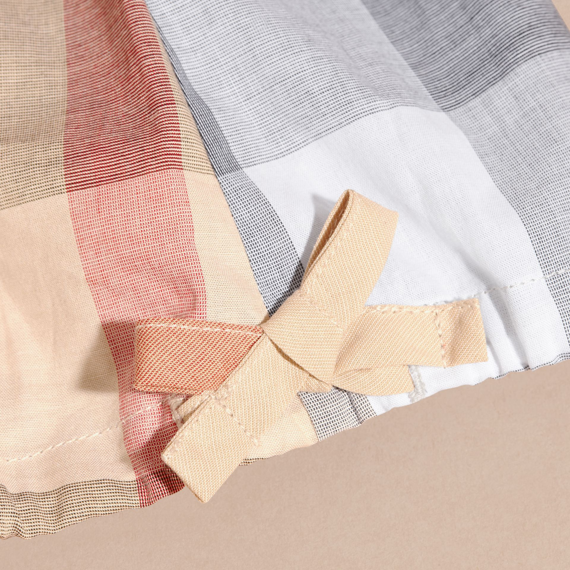 Gathered Check Cotton Top in Pale Stone | Burberry - gallery image 2