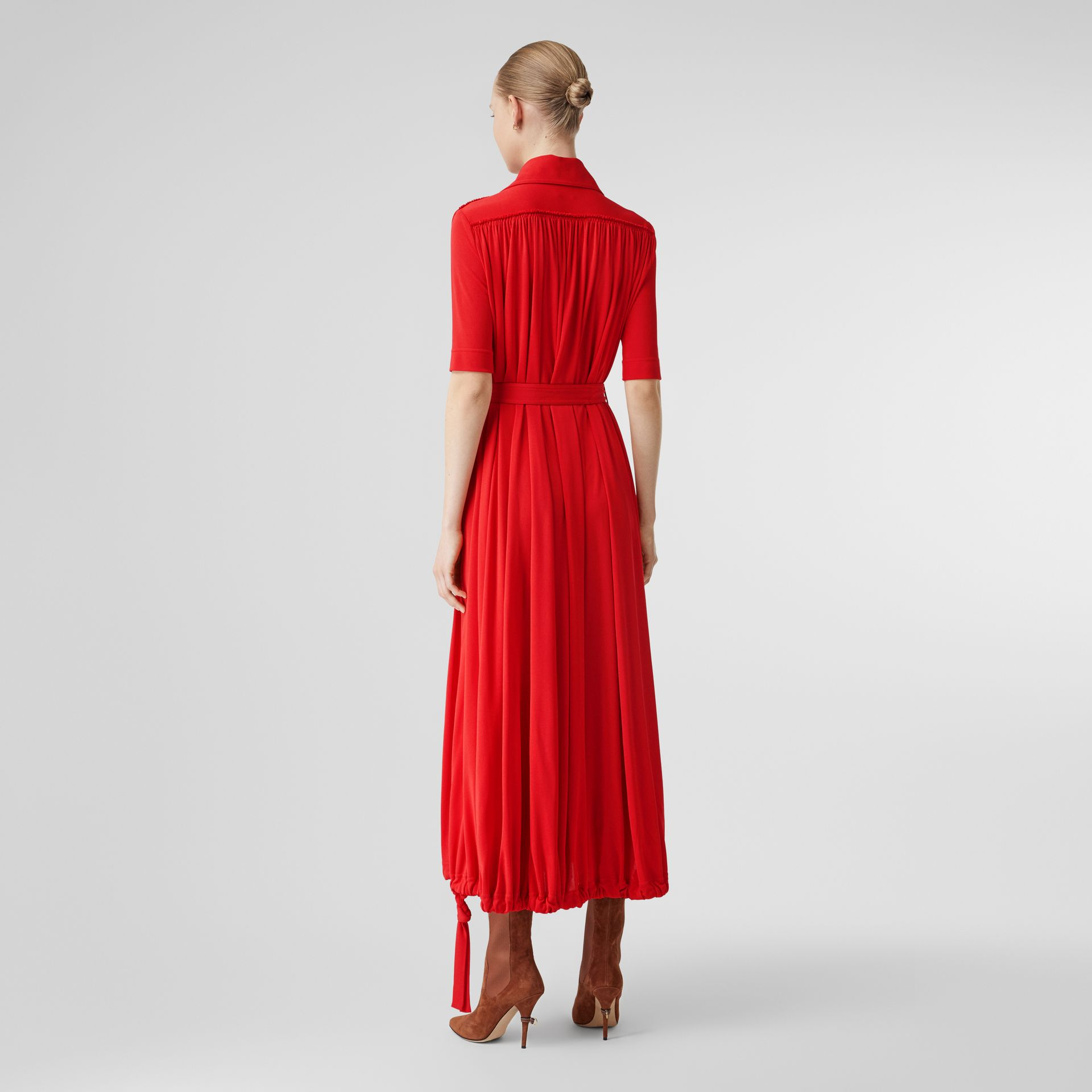 Short-sleeve Gathered Jersey Dress in Bright Red - Women | Burberry - gallery image 2