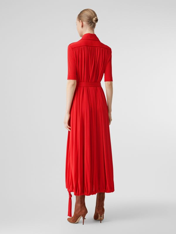 Short-sleeve Gathered Jersey Dress in Bright Red - Women | Burberry United Kingdom - cell image 2