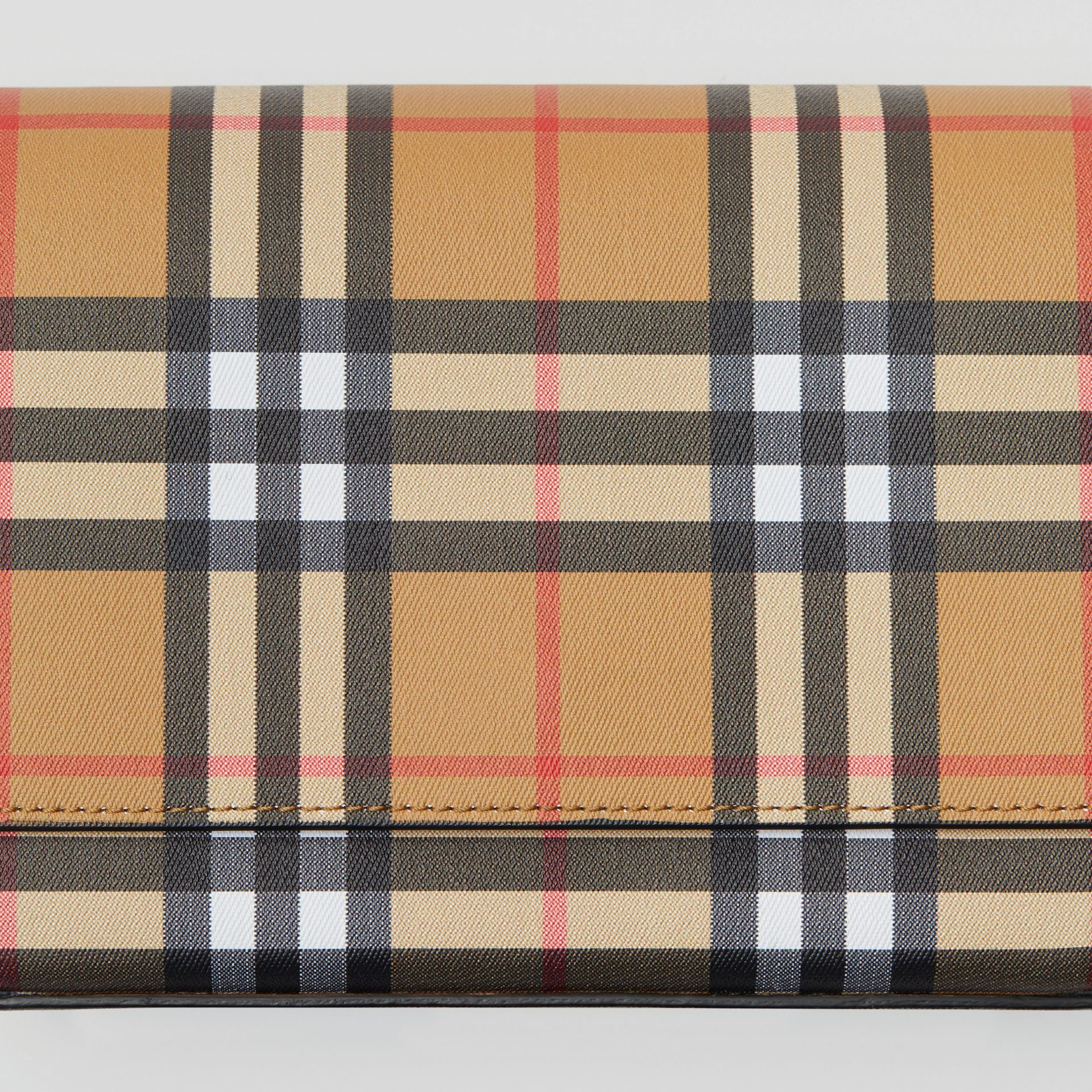 Vintage Check and Leather Wallet with Detachable Strap in Black - Women | Burberry Australia - gallery image 1
