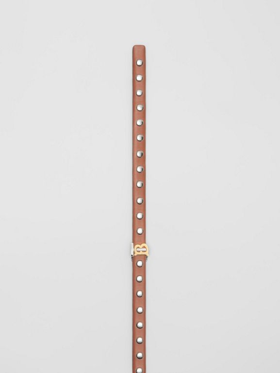 Monogram Motif Studded Leather Belt in Malt Brown/palladio - Women | Burberry - cell image 1