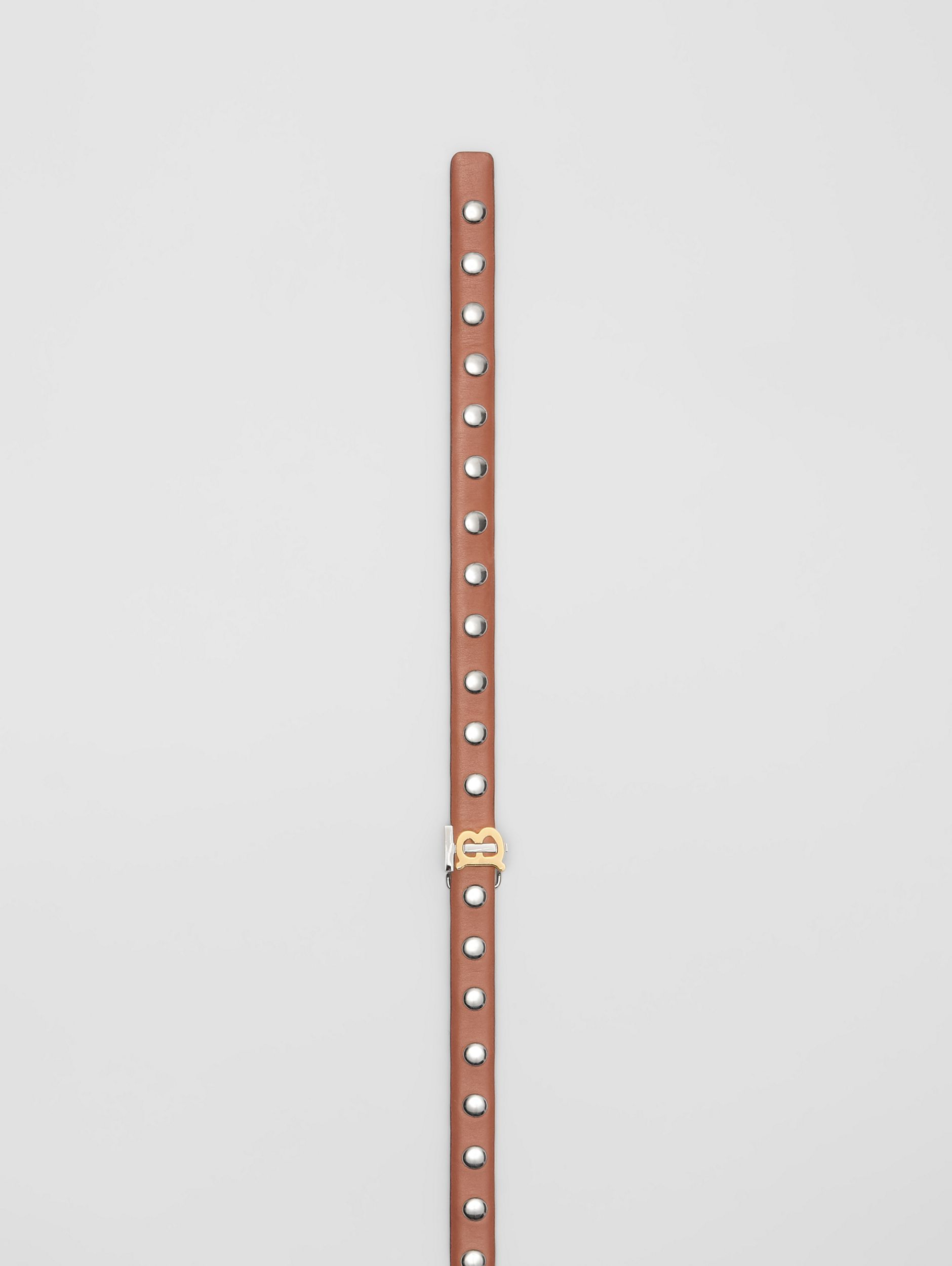 Monogram Motif Studded Leather Belt in Malt Brown/palladio - Women | Burberry - 2
