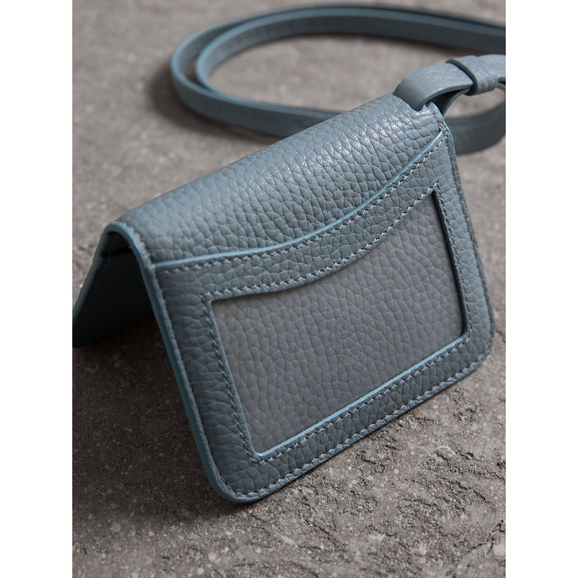 Embossed Leather ID Card Case Charm in Dusty Teal Blue - Women | Burberry - gallery image 3