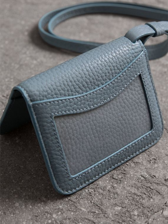 Embossed Leather ID Card Case Charm in Dusty Teal Blue - Women | Burberry United States - cell image 2