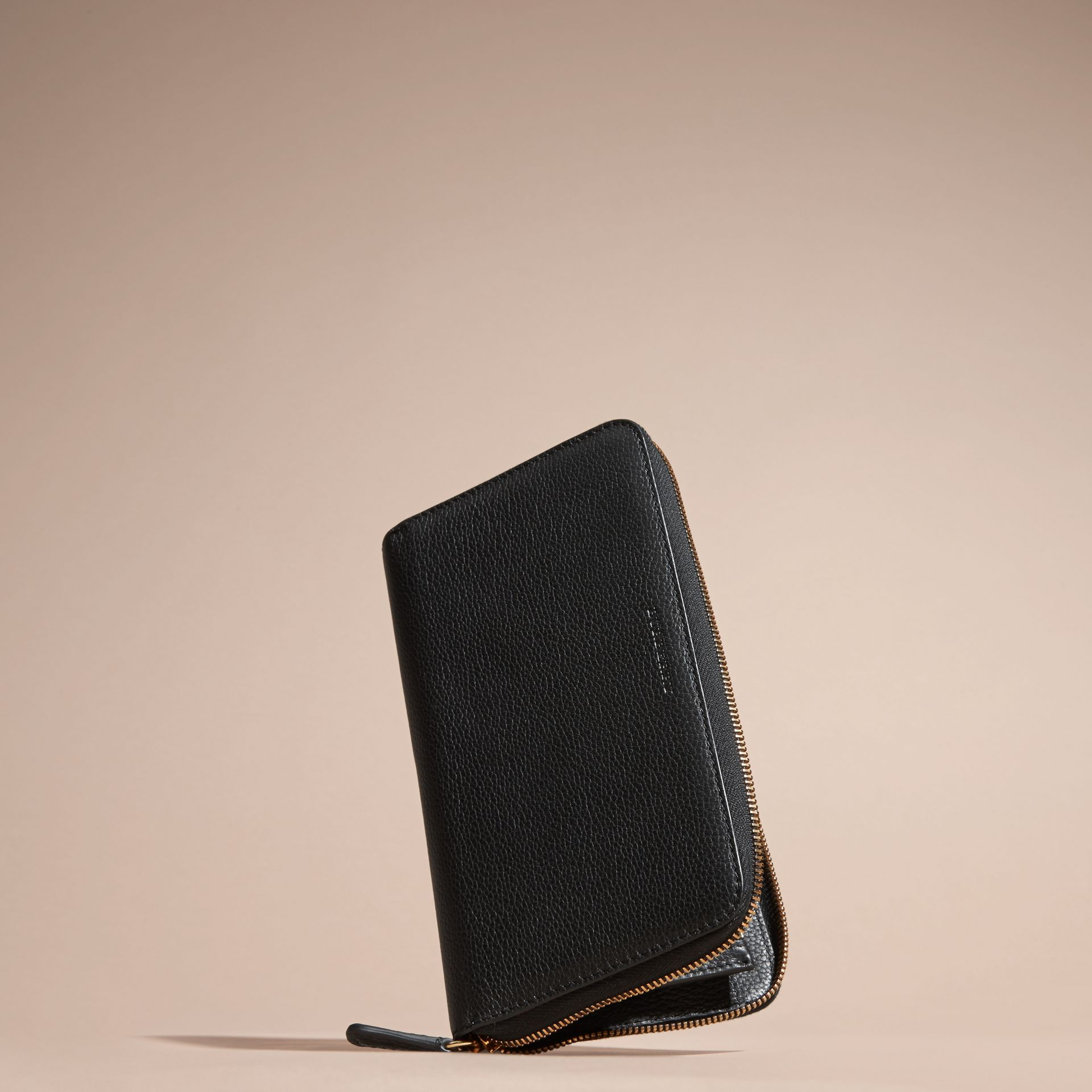 Black Grainy Leather Ziparound Wallet Black - gallery image 3