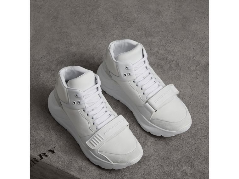 Suede Trim Neoprene High-top Sneakers in Optic White - Women | Burberry Canada - cell image 4