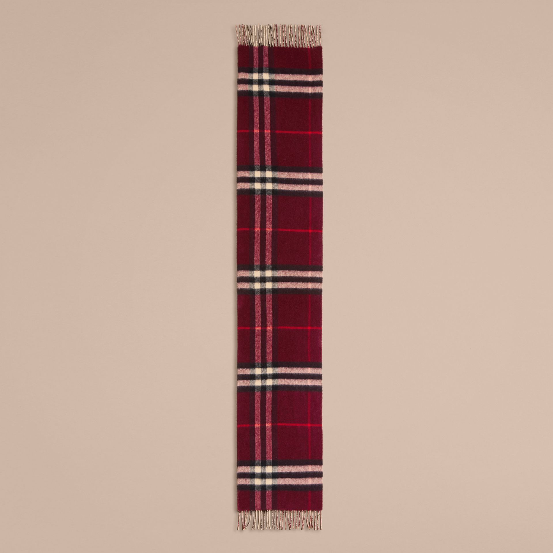 Reversible Check Cashmere and Block-colour Scarf in Claret | Burberry Canada - gallery image 1
