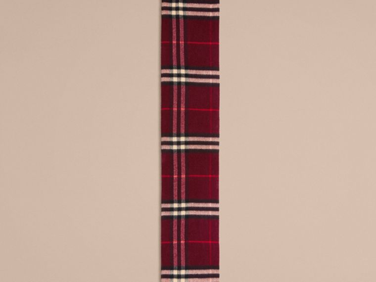 Reversible Check Cashmere and Block-colour Scarf in Claret | Burberry - cell image 1