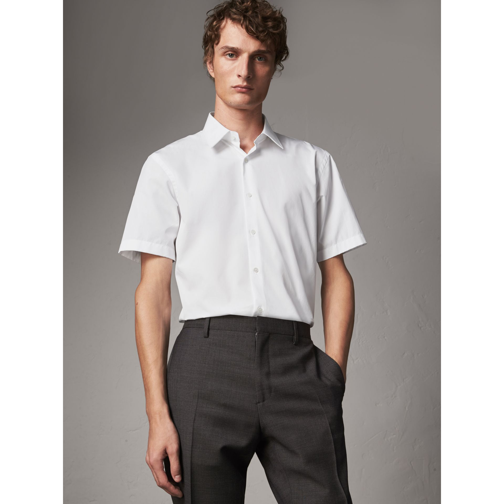 Modern Fit Short-sleeved Cotton Poplin Shirt in White - Men | Burberry Australia - gallery image 1