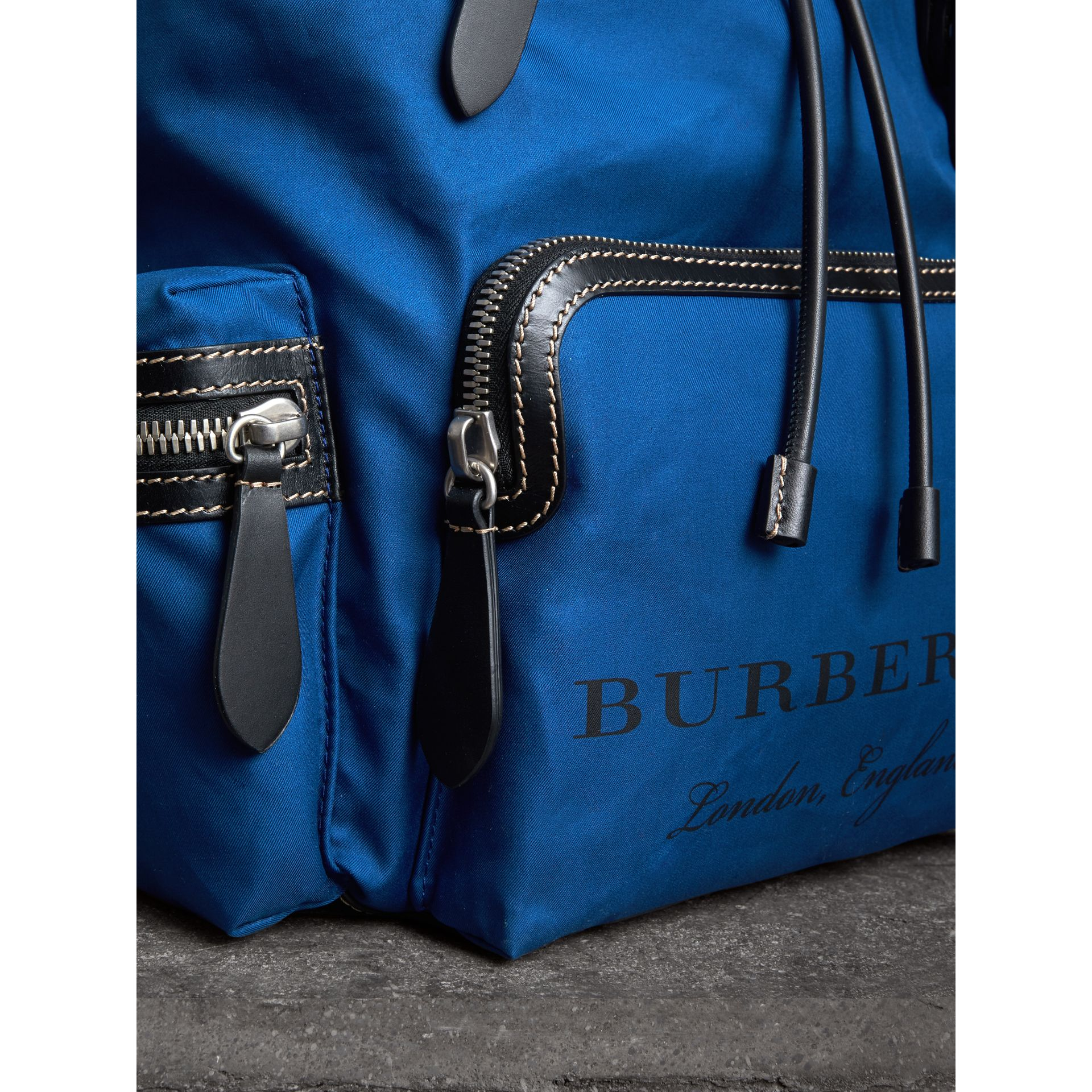 The Large Rucksack in Cotton Canvas in Bright  Blue - Men | Burberry - gallery image 1