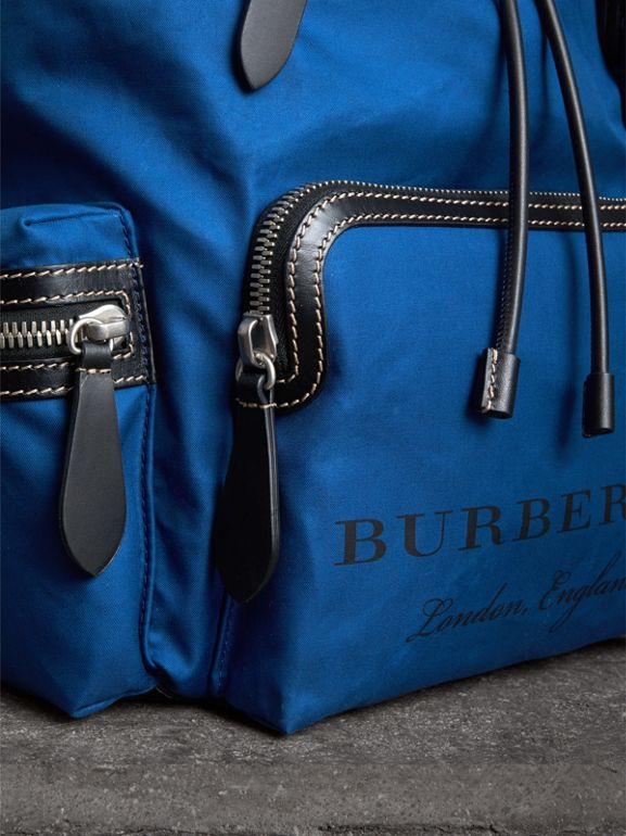 The Large Rucksack in Cotton Canvas in Bright  Blue - Men | Burberry - cell image 1