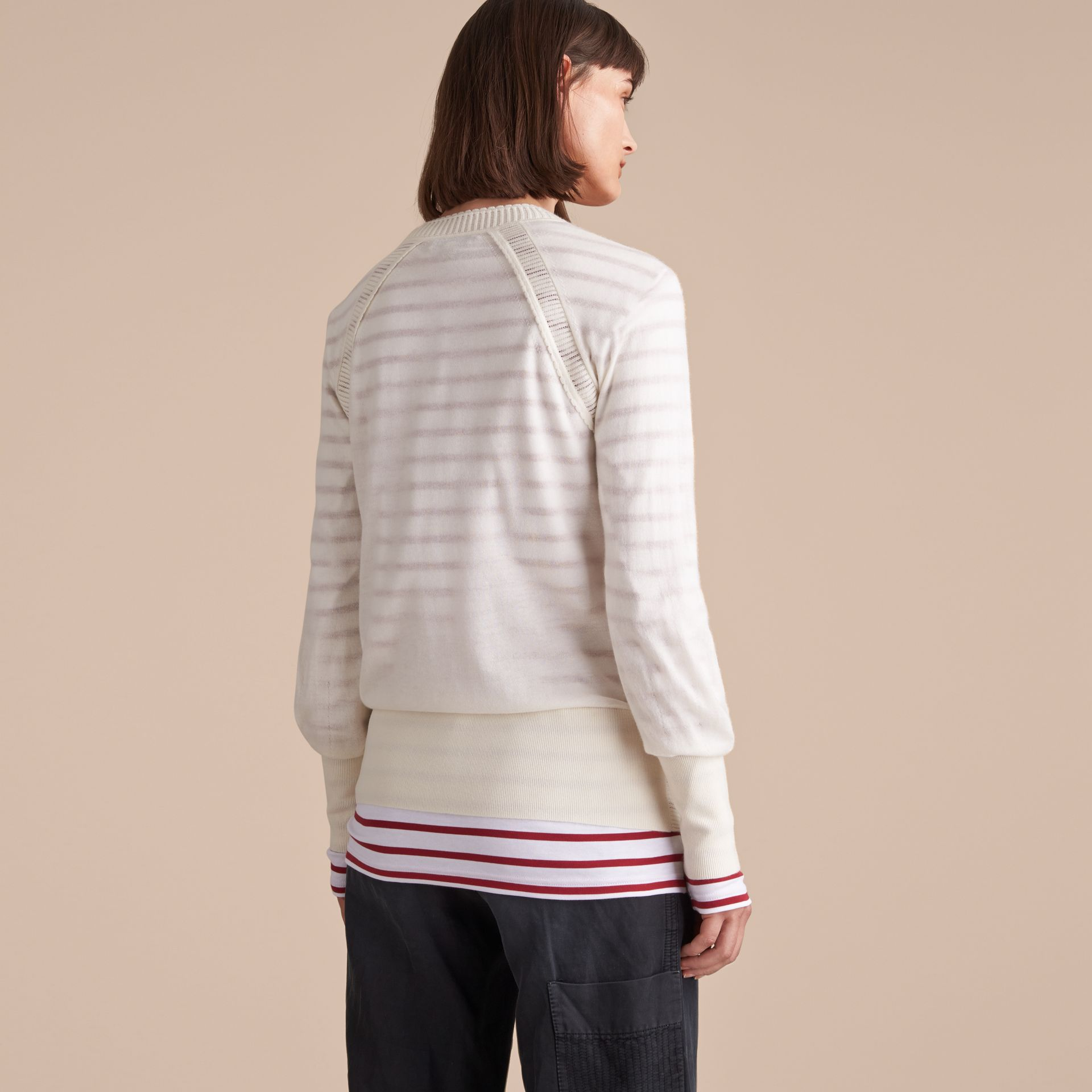 Open-knit Detail Cashmere Cardigan in Natural White - gallery image 3