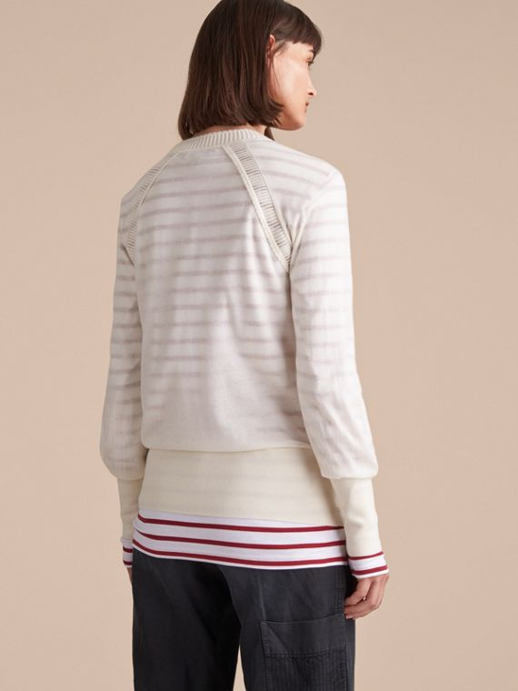 Open-knit Detail Cashmere Cardigan Natural White - cell image 2
