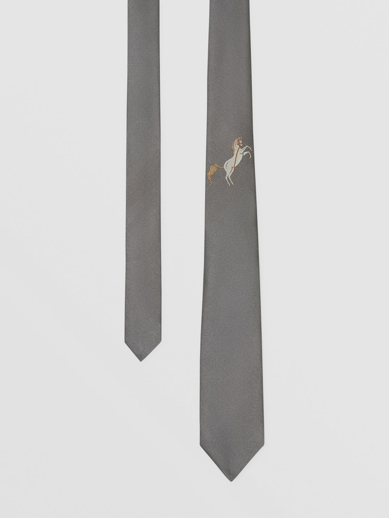 Classic Cut Embroidered Unicorn Silk Tie in Storm Grey